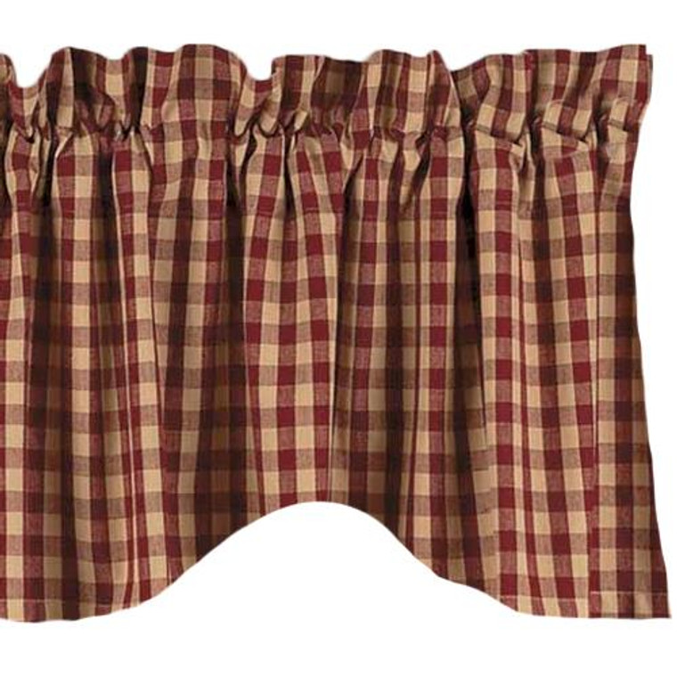 Farmhouse Heritage House Check Valance - Scalloped Barn Red 72x18 - 872319003078