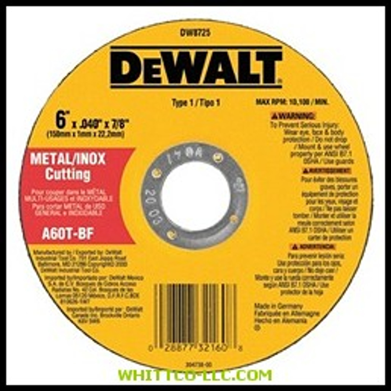 "QTY 10 DEWALT DW8725 6/"" x .040/"" x 7//8/"" Metal and Stainless Cutting Wheel"