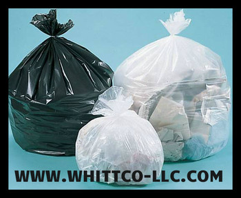 H334011NE trash bags clear and black can liners WHITTCO Industrial supplies