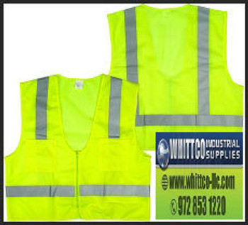 Surveyor s safety vest class II polyester 2 pockets solid front mesh back zipper closure SV01 (SV01)