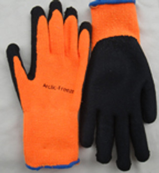 ARCTIC-OR10 Gauge hivis orange ,fleece line, black micro-foam, latex palm, sizes S-XL
