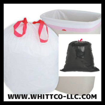DT44GALW Drawstring -drawtuff trash bags - can liners - WHITTCO Industrial supplies