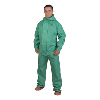 RS45GL APEX FR™ .45 MM GREEN PVC/NYLON SCRIM/PVC  GREEN 1-PIECE ACID/CHEMICAL SUIT  LIMITED FLAME RESISTANT  STORM FLY FRONT WITH ZIPPER/SNAP BUTTONS  ATTACHED HOOD Cordova Safety Products