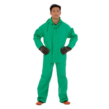 RS452GM APEX FR™ .45 MM GREEN PVC/NYLON SCRIM/PVC  2-PIECE ACID/CHEMICAL SUIT  LIMITED FLAME RESISTANT  STORM FLY FRONT WITH ZIPPER SNAP BUTTONS  BIB STYLE PANTS WITH SUSPENDERS  ATTACHED HOOD Cordova Safety Products