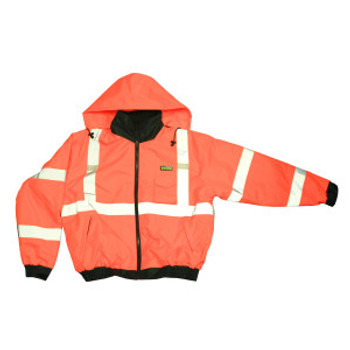 J220-L REPTYLE™ CLASS III  ORANGE BOMBER JACKET  PU COATED POLYESTER SHELL  ATTACHED QUILTED LINING  CONCEALED/ATTACHED HOOD Cordova Safety Products
