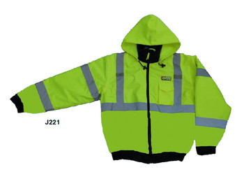 J221-L REPTYLE™ CLASS III  LIME BOMBER JACKET  PU COATED POLYESTER SHELL  ATTACHED QUILTED LINING  CONCEALED/ATTACHED HOOD Cordova Safety Products
