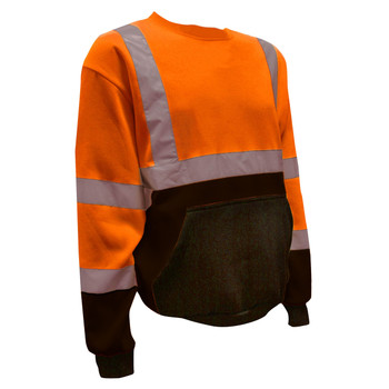 SS100-XL COR-BRITE™ CLASS III ORANGE CREW NECK SWEATSHIRT  300 GRAM POLYESTER FLEECE  BLACK POUCH POCKET  FRONT PANEL AND FOREARMS Cordova Safety Products