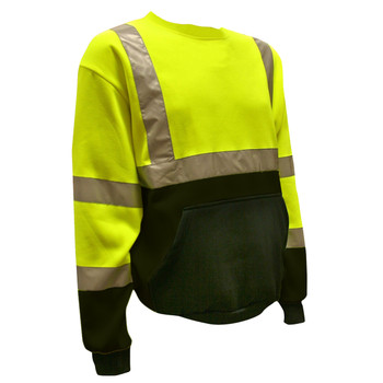 SS101-XL COR-BRITE™ CLASS III LIME CREW NECK SWEATSHIRT  300 GRAM POLYESTER FLEECE  BLACK POUCH POCKET  FRONT PANEL AND FOREARMS Cordova Safety Products