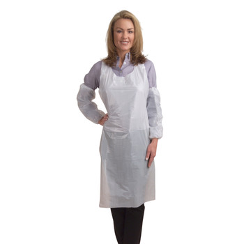 "PA2846 1.25 MIL WHITE POLYETHYLENE APRON  EMBOSSED  28"" X 46""  INDIVIDUALLY POLYBAGGED Cordova Safety Products"