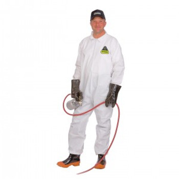 CPM DEFENDER™ WHITE MICROPOROUS COVERALL  ZIPPER FRONT AND COLLAR  OPEN WRISTS & ANKLES  NO ELASTIC Cordova Safety Products