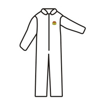SMS100XL C-MAX™ WHITE SMS COVERALL  ZIPPER FRONT AND COLLAR  ELASTIC WAIST  OPEN WRISTS & ANKLES Cordova Safety Products