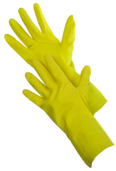 41-0013-1 - YELLOW HOUSEHOLD LATEX   (SINGLE PAIR PACKED)  - SIZE M & L ONLY  CHEMICAL RESISTANT GLOVES