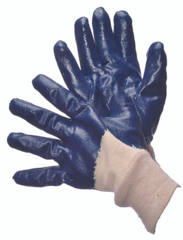 96-6120  - SMOOTH FINISH BLUE NITRILE COATED WITH KNIT WRIST  CHEMICAL RESISTANT GLOVES