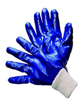 96-6120FP  - SMOOTH FINISH BLUE NITRILE FULLY COATED  CHEMICAL RESISTANT GLOVES