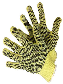 25-2800KV  - KEVLAR 7 GAUGE KNITTED GLOVES WITH  PVC DOTS ON 2 SIDES OF GLOVE  CUT & HEAT RESISTANT