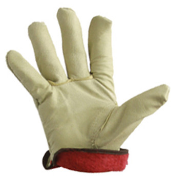 32-1380P  - PIGSKIN DRIVER GLOVES WITH RED JERSEY LINING LEATHER DRIVER