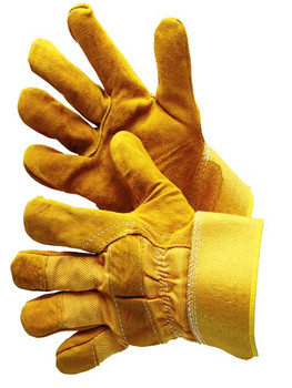 30-3111Y-SP  - GOLDEN YELLOW SPLIT LEATHER  SINGLE PALM (AB GRADE)   LEATHER PALM