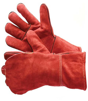 31-4016DBKV  - RED WELDING GLOVE WITH KEVLAR SEWN AND DOUBLE LEATHER ON ONE HAND LEATHER WELDING