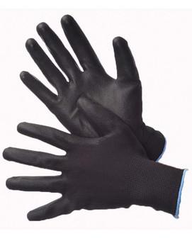 50-6639PBK  - BLACK POLYESTER SHELL BLACK PU COATING    NYLON/POLYESTER SHELL W/ COATING