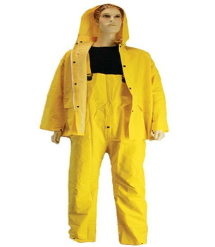 10-710  - PVC / POLYESTER 3 PIECE RAINSUIT  - DETACHABLE HOOD  RAINWEAR
