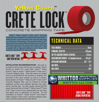 Crete lock Tape Yellow Guard Specifications