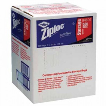 CASE/500 ZIPLOCK BAGS QUART STORAGE 1.75 MIL