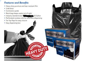 Contractor bags 3 mil black 40 count 60 Gallon (CB6030XK)