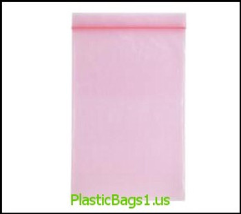 P104 Anti-Stat Transparent Pink Reclosable Bags 4x8 RD Plastics