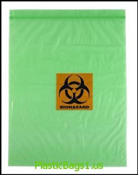 Q393 GREEN Tinted Biohazard Printed 2 Wall 12x15 RD Plastics