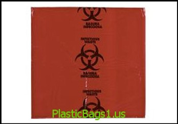 G130 Hazardous Material / Infections Waste Bags 24x23 RD Plastics