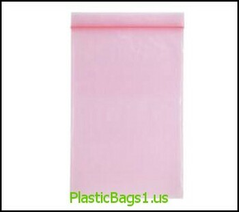 P101 Anti-Stat Transparent Pink Reclosable Bags 3x4 RD Plastics