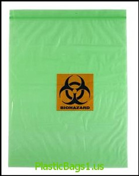 Q369 PINK Tinted Biohazard Printed 2 Wall 12x15 RD Plastics