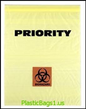 Q390 Biohazard Priority Print 3 Wall 12x15 RD Plastics