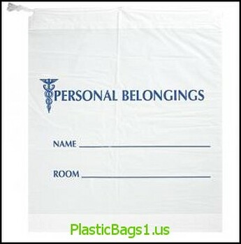 "G107 Personal Belongings Bags Drawstring Opaque With Blue Print 20x20+3""bottomgusset RD Plastics"