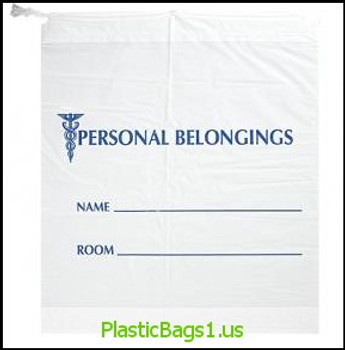 "G32 Personal Belongings Bags Drawstring Opaque With Blue Print 18x20+3.5""bottomgusset"" RD Plastics"
