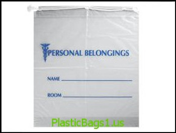 """G33 Personal Belongings Bags Drawstring Clear With Blue Print 18x20+3.5""""bottomgusset RD Plastics"""
