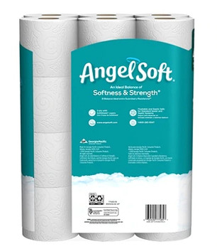 Angel Soft 2-Ply Toilet Paper, White, 264 Sheets Per Roll, Pack Of 24 Double Rolls