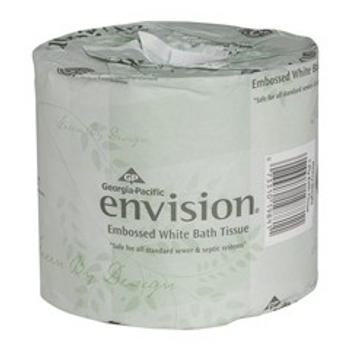 Envision 95% Recycled Embossed 1-Ply Bathroom Tissue, White, 550 Sheets Per Roll, Case Of 40 Rolls