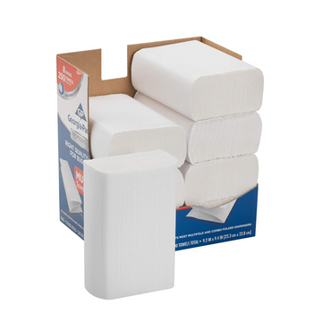"Georgia-Pacific Professional Series Multi-Fold 1-Ply Paper Towels, 9-3/16"" x 9-3/8"", White, 250 Paper Towels Per Box, Case Of 8"