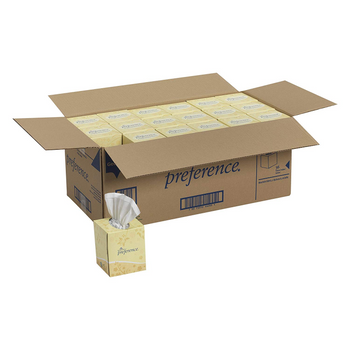 Preference 2-Ply Facial Tissue, White, 100 Tissues Per Box, Case Of 36 Boxes