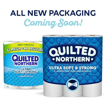 Quilted Northern Ultra Soft & Strong Clean tretch 2-Ply Bathroom Tissue, White, 164 Sheets Per Roll, Pack Of 48 Rolls