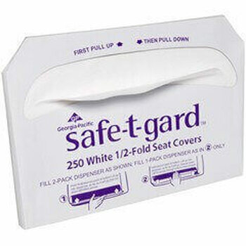 "Safe-T-Gard 1/2 Fold Toilet Seat Covers, 14 1/2"" x 17"", White, 250 Per Pack, Case Of 20 Packs"