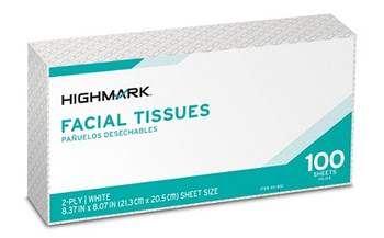 Highmark 2-Ply Facial Tissue Flat Box White 100 Tissues Per Box Case Of 30 Boxes