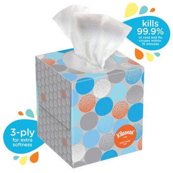 Kleenex Anti-Viral 3-Ply Facial Tissue, White, 68 Sheets Per Box, Carton Of 12
