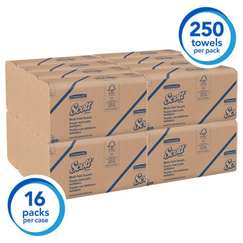 Scott 100% Recycled Fiber multi-fold Paper Towels Brown (16 Clips/Case, 250-Sheets/Clip, 4,000 Towels/Case)