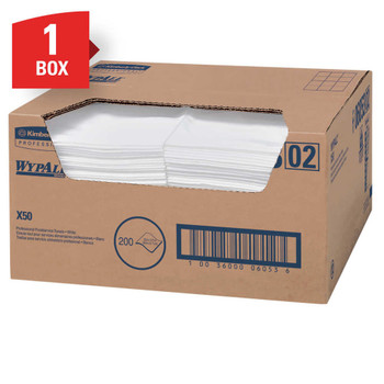 """WypAll X50 Wipers, 23 1/2"""" x 12 1/2"""", White, Carton Of 200"""