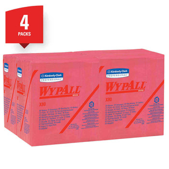 """Wypall X80 Wipers, 1/4 Fold, Hydroknit, 12 1/2"""" x 12"""", Red, Pack of 50 4 boxes/cs"""