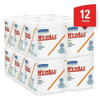 """Wypall L30 Economizer Wipes, 12 1/2"""" x 13"""", White, 90 Wipes Per Pack, Case Of 12 Packs"""