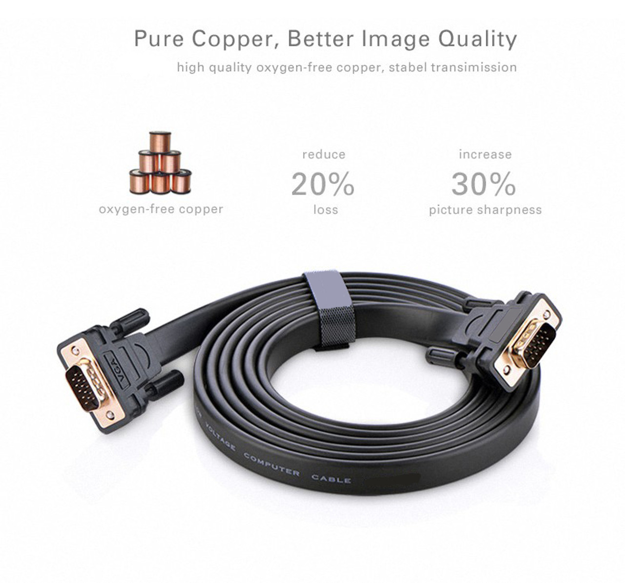 2M Flat SVGA Cable HD15 M/M