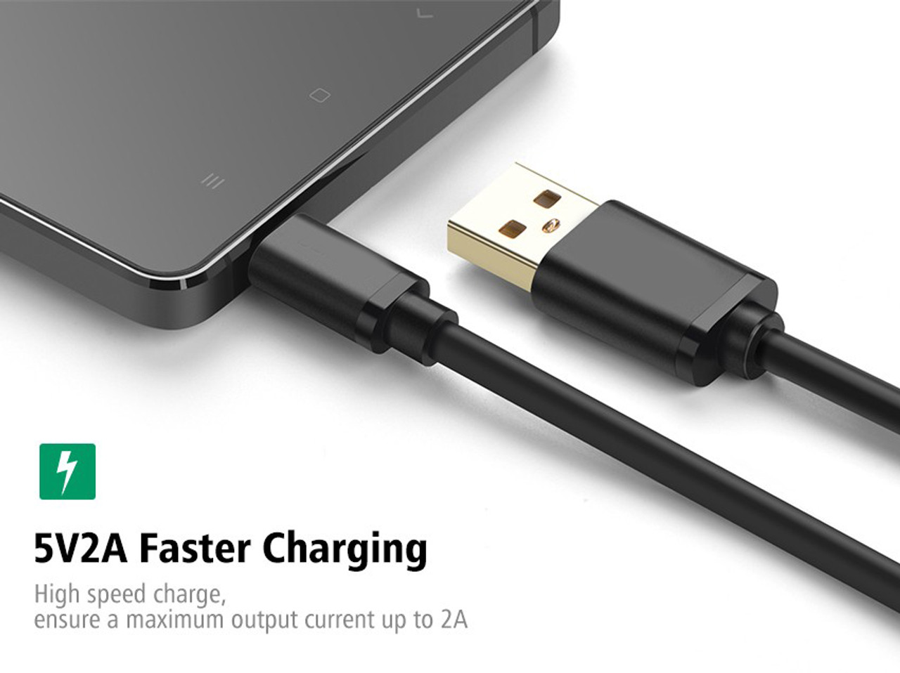1M Black 5V 2A Micro USB 22AWG Fast Charging Cable